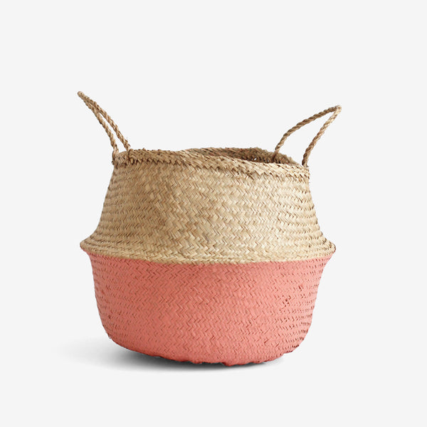 Seagrass Belly Basket - Medium Coral
