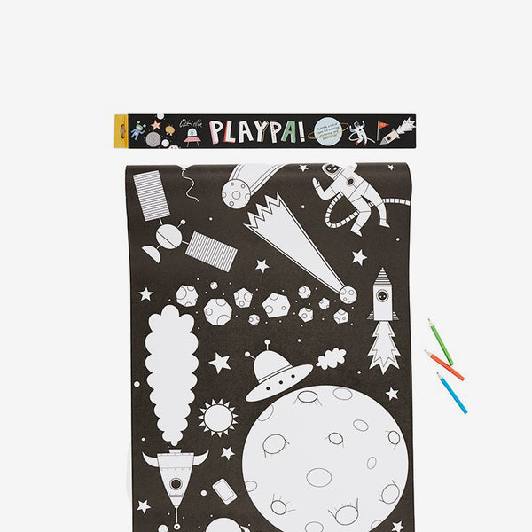 Playpa Drawing Roll & Stickers Set - Space