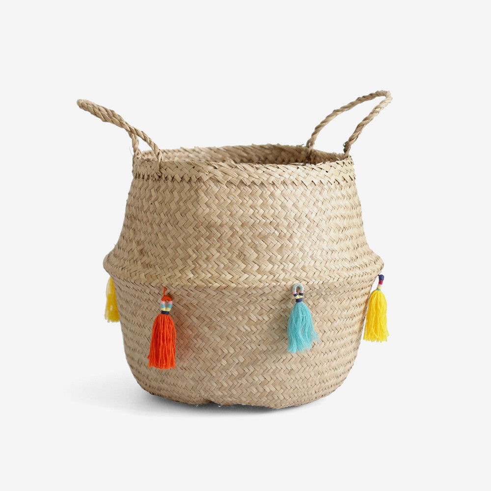 Tasseled Belly Basket - Multi