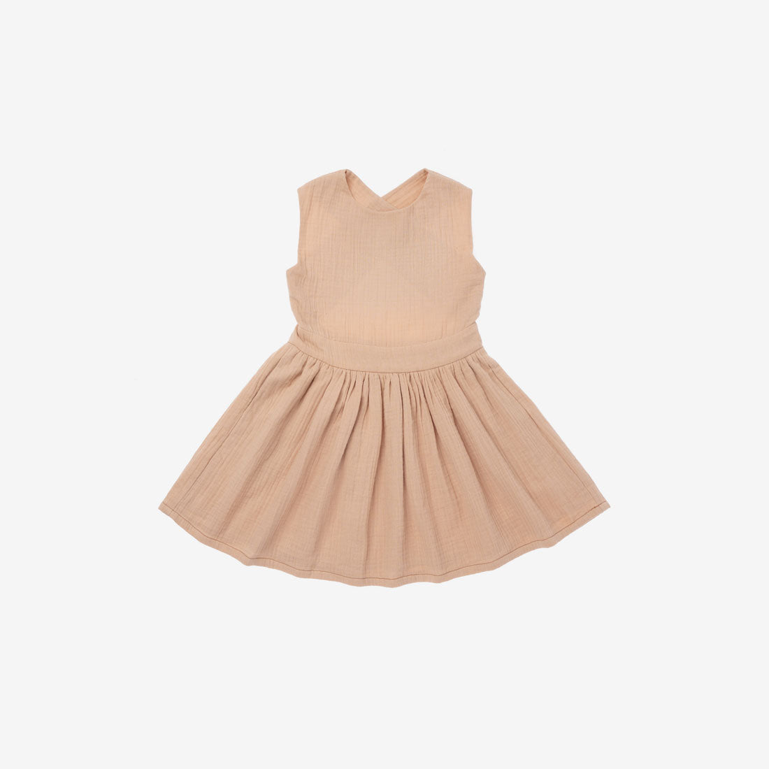 Pinafore Dress in Double Gauze - Peach