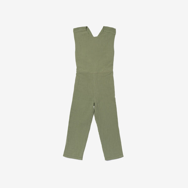 Pinafore Overall Romper in Double Gauze - Olive