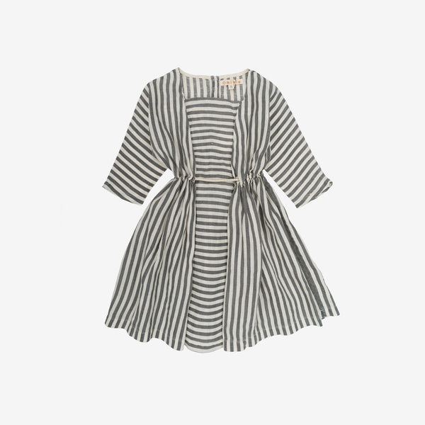 Sophia Linen Dress - Flax Stripe