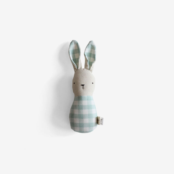 Bunny Rattle - Mint Gingham