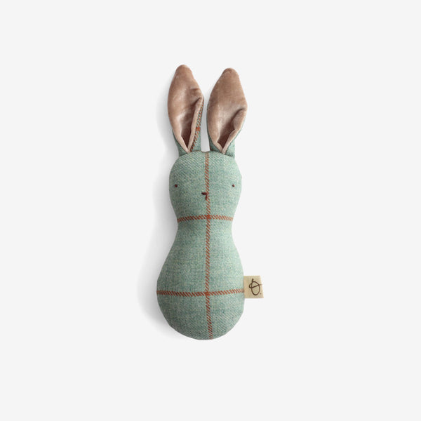 Bunny Rattle - Ocean Plaid with Velvet Ears