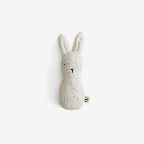 Bunny Rattle - Ivory Wool Cable
