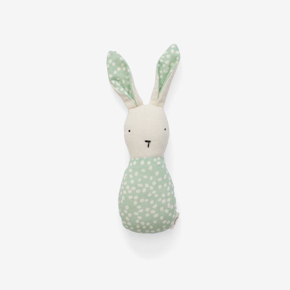 Polka Dot Organic Bunny Rattle - Mint