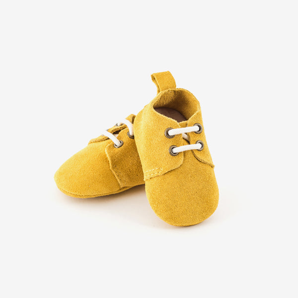 Mustard Suede Oxfords - Baby