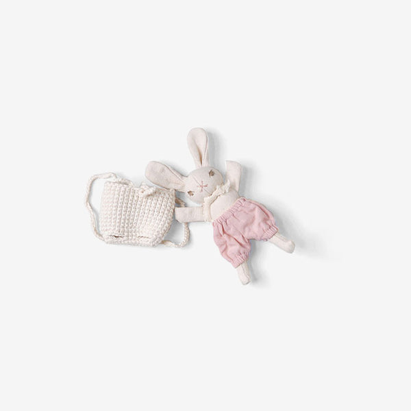 Baby Bunny in Backpack - Cream/Lavender/Cream