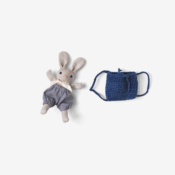 Baby Bunny in Backpack - Grey/Check/Indigo