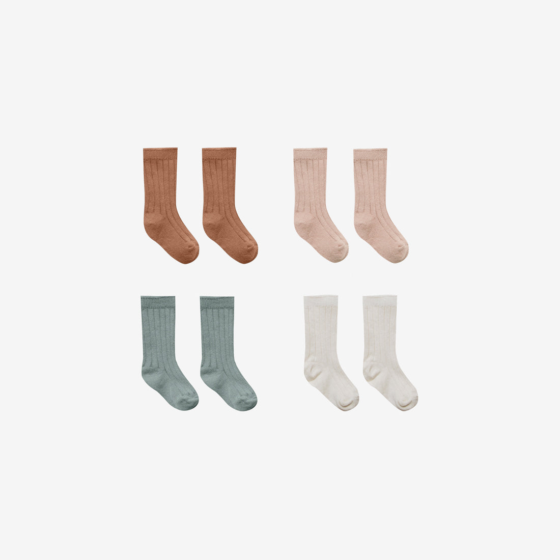 Organic Cotton Baby Socks 4-Pack -Ivory/Ocean/Petal/Rust
