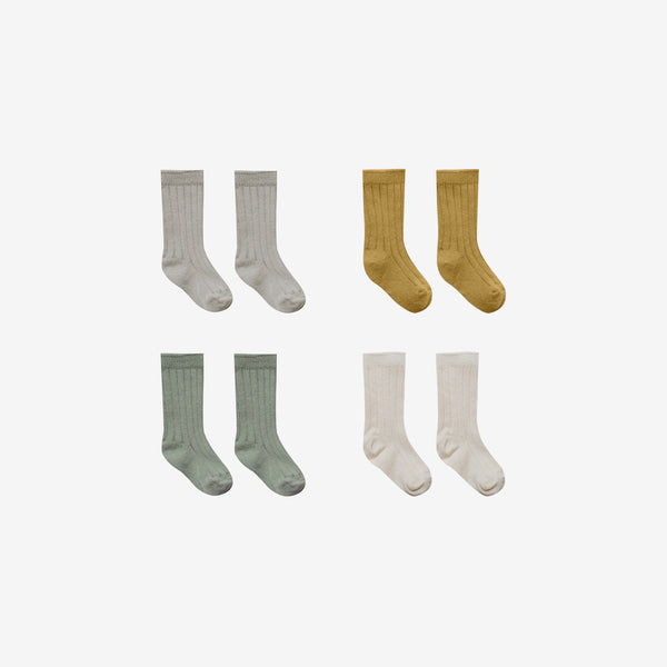 Organic Cotton Baby Socks 4-Pack - Fog/Ochre/Natural/Moss