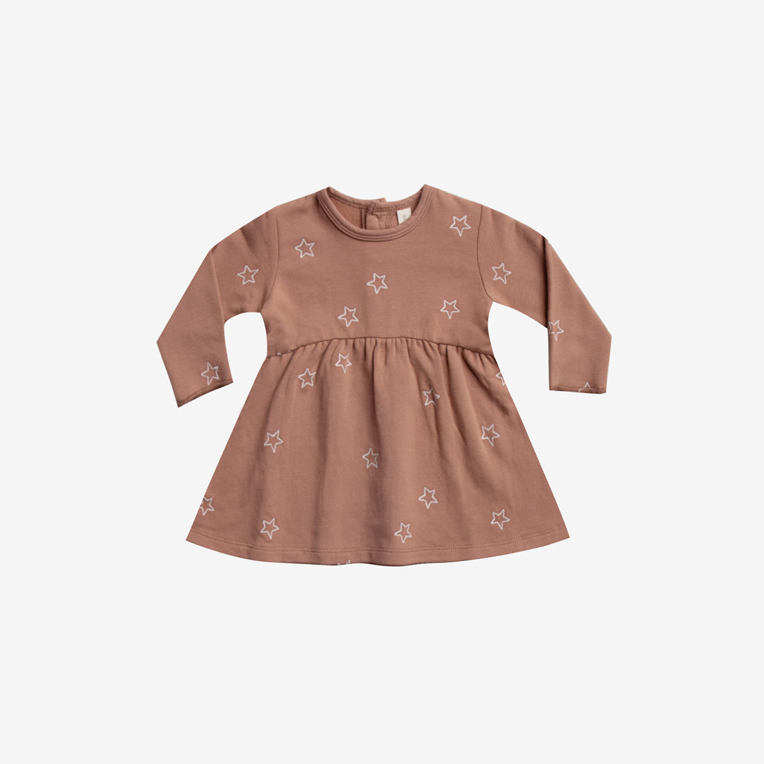 Embroidered Organic Fleece Dress - Clay Star