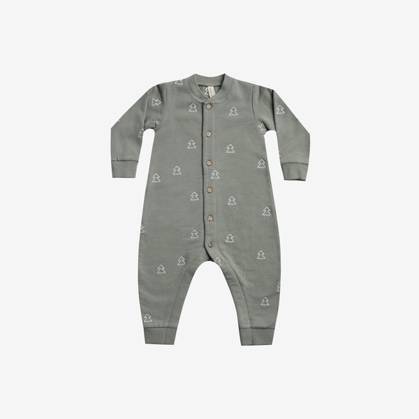 Embroidered Organic Fleece Jumpsuit - Eucalyptus Trees