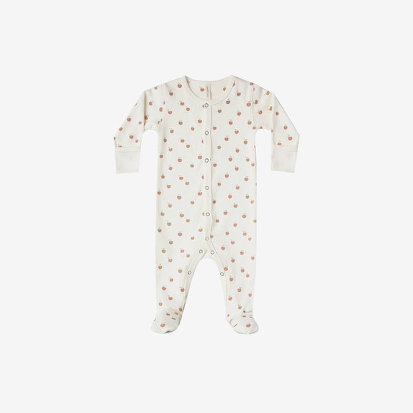 Organic Brushed Jersey Full Snap Footie - Peaches