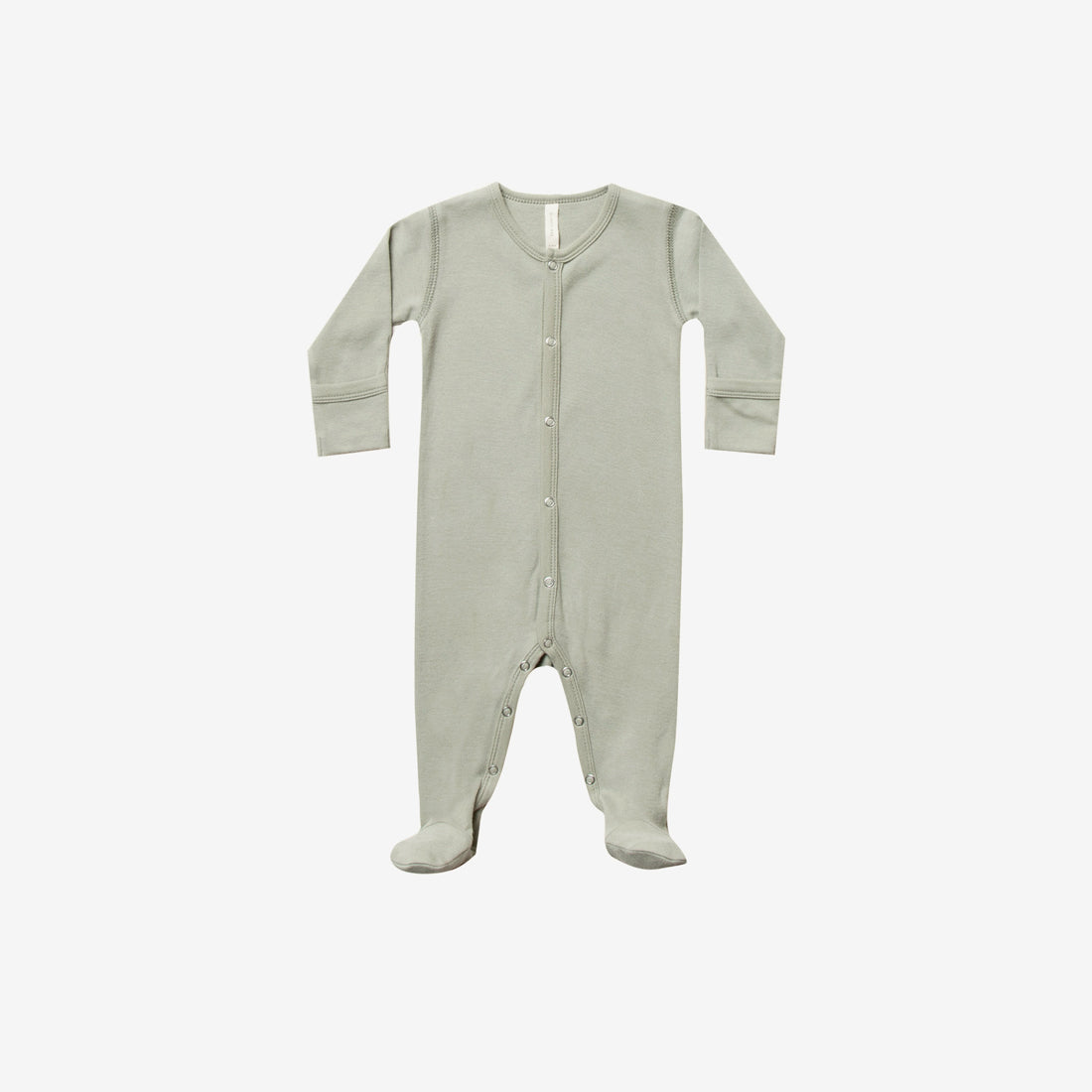 Organic Brushed Jersey Full Snap Footie - Sage