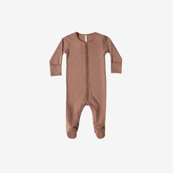 Organic Brushed Jersey Full Snap Footie - Clay
