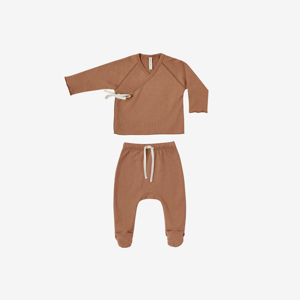 Organic Jersey Kimono Top + Footed Pant Set - Rust