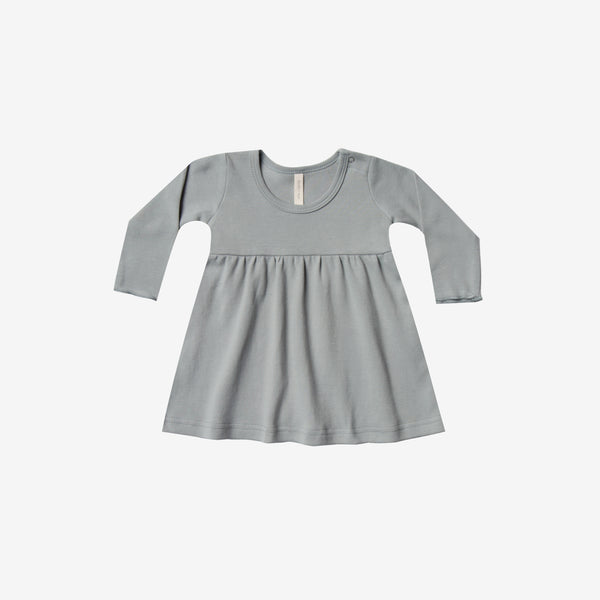 Organic Brushed Jersey Baby Dress - Dusty Blue