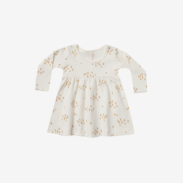 Organic Brushed Jersey Baby Dress - Ivory Trees