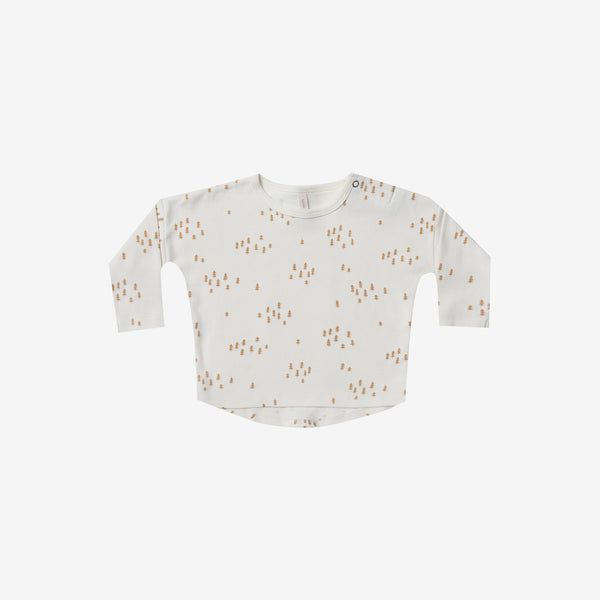 Organic Brushed Jersey Baby Tee - Ivory Trees