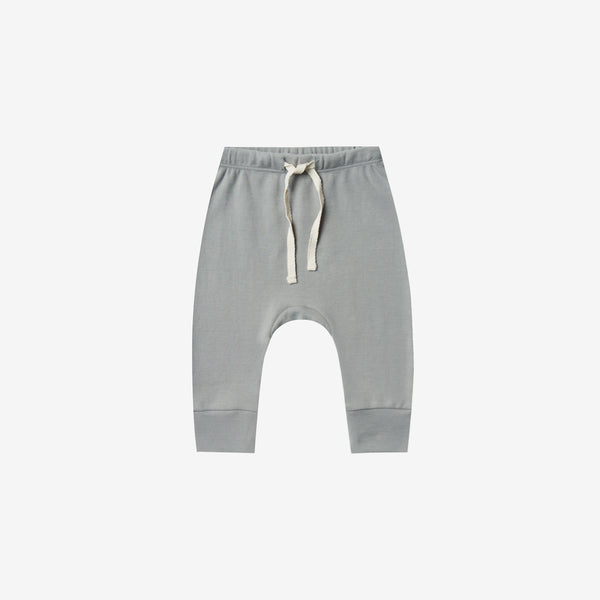 Organic Brushed Jersey Drawstring Pant - Dusty Blue