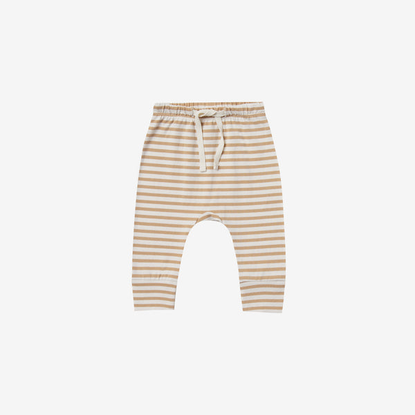 Organic Brushed Jersey Drawstring Pant - Honey Stripe
