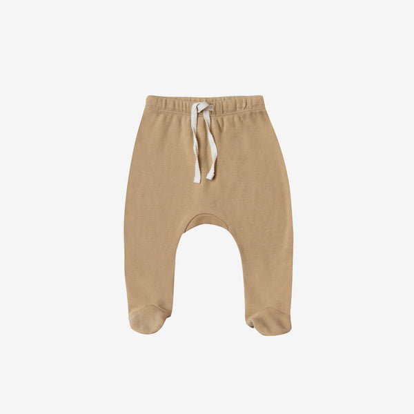 Organic Brushed Jersey Footed Pant - Honey