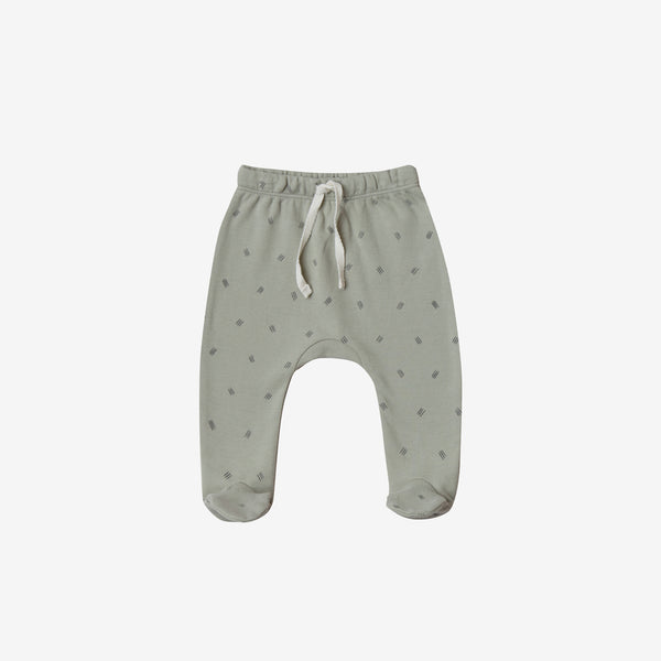 Organic Brushed Jersey Footed Pant - Sage Dash