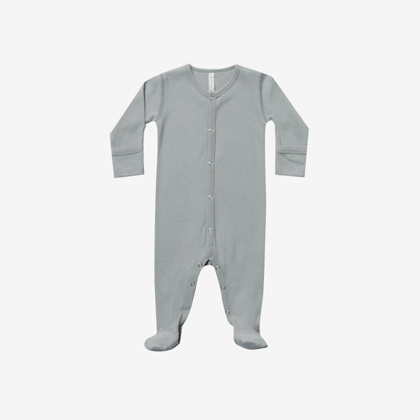 Organic Brushed Jersey Full Snap Footie - Dusty Blue