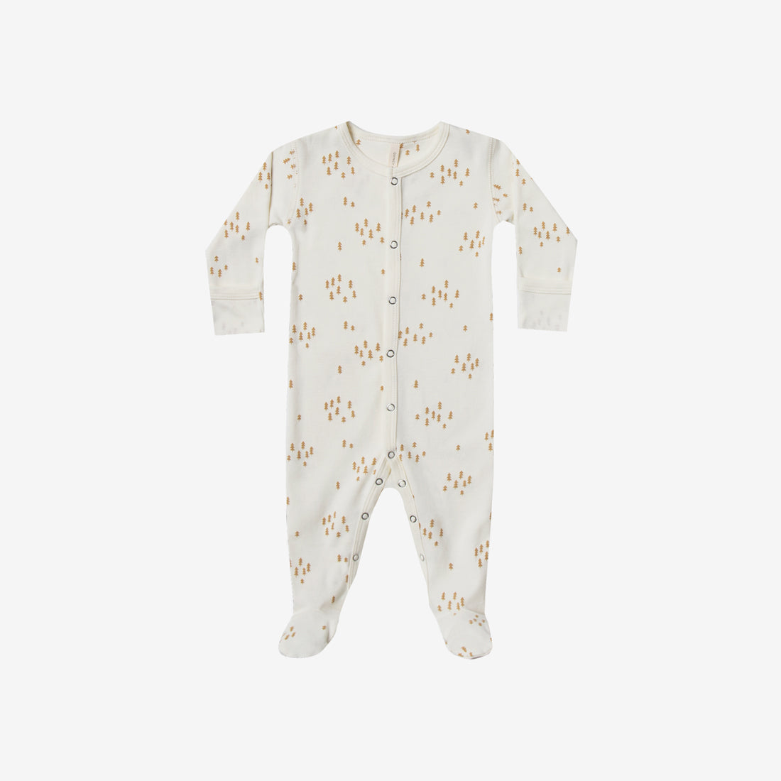 Organic Brushed Jersey Full Snap Footie - Ivory Trees