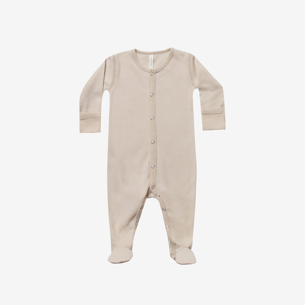 Organic Brushed Jersey Full Snap Footie - Rose