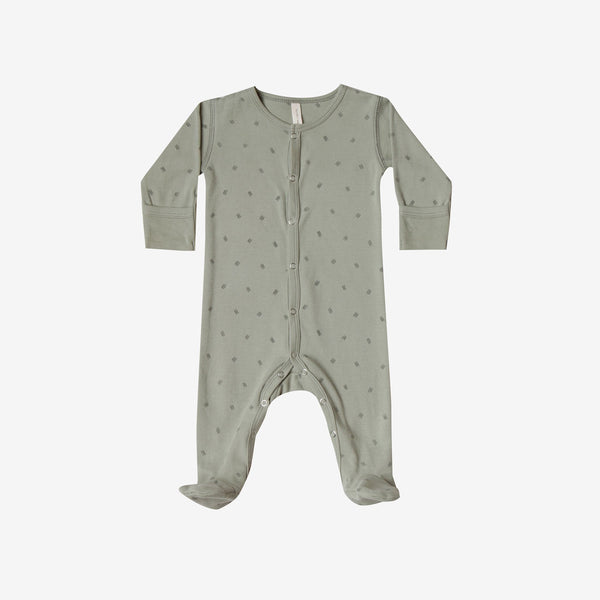 Organic Brushed Jersey Full Snap Footie - Sage Dash