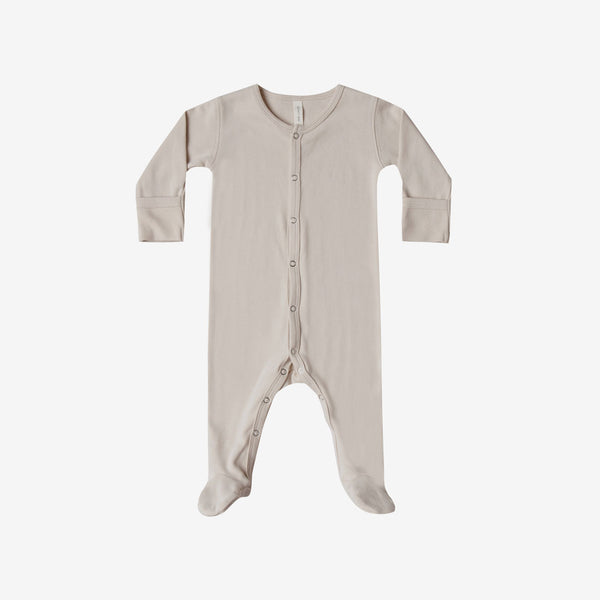 Organic Brushed Jersey Full Snap Footie - Bone