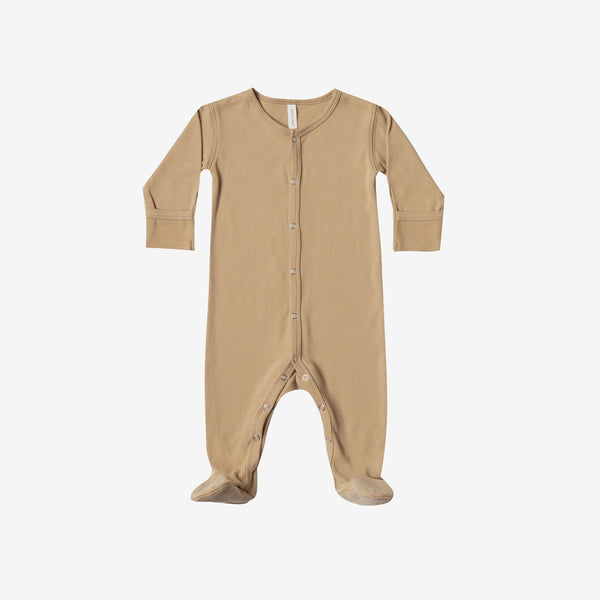 Organic Brushed Jersey Full Snap Footie - Honey