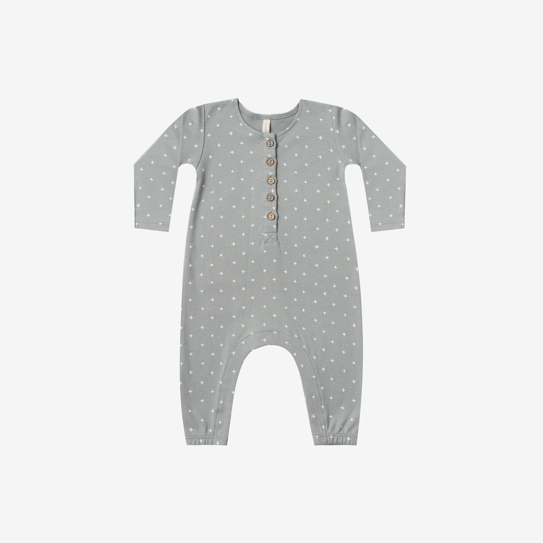 Organic Brushed Jersey Jumpsuit - Dusty Blue Crosses