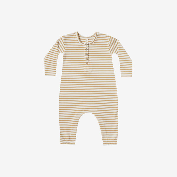 Organic Brushed Jersey Jumpsuit - Honey Stripe