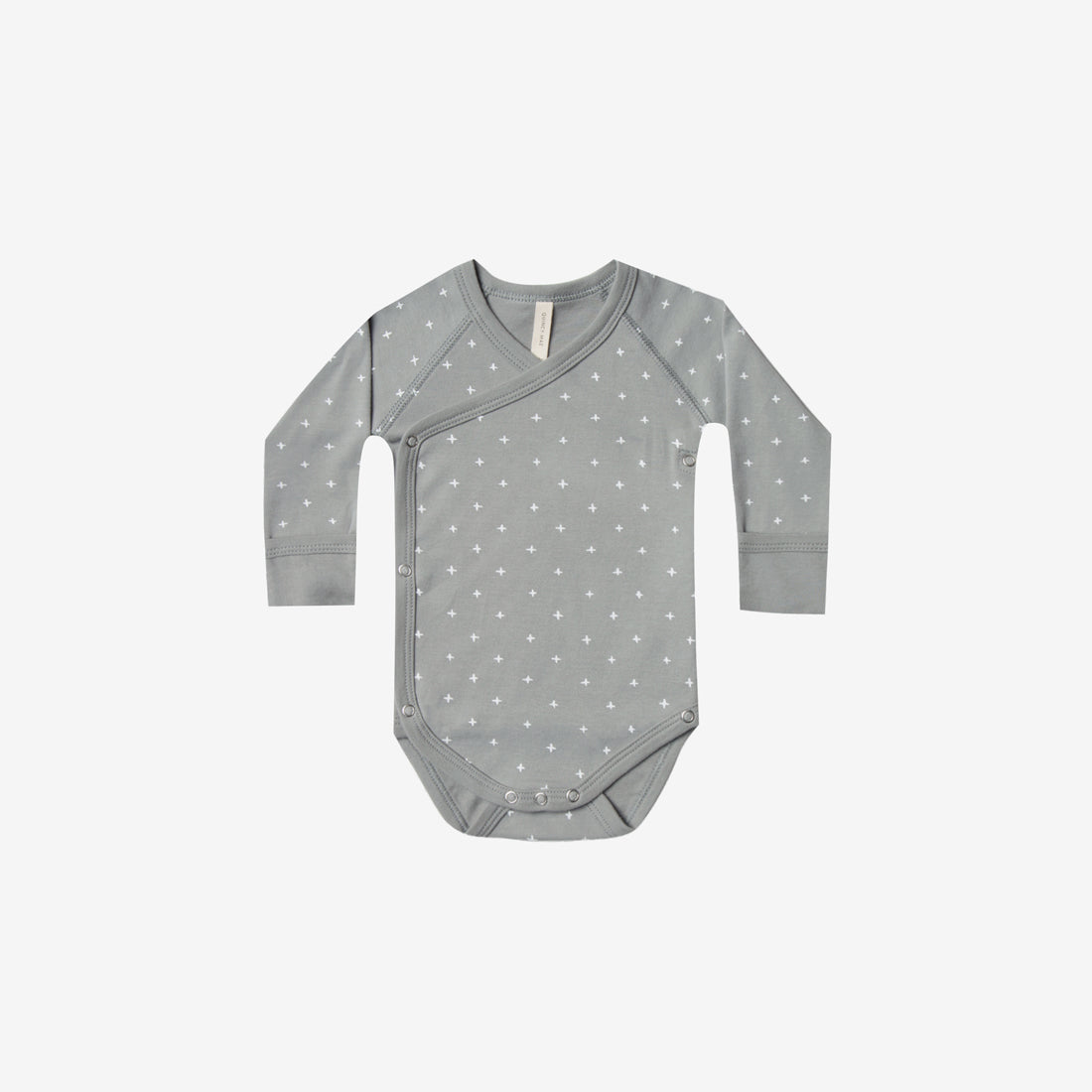 Organic Brushed Jersey Kimono Onesie - Dusty Blue Crosses