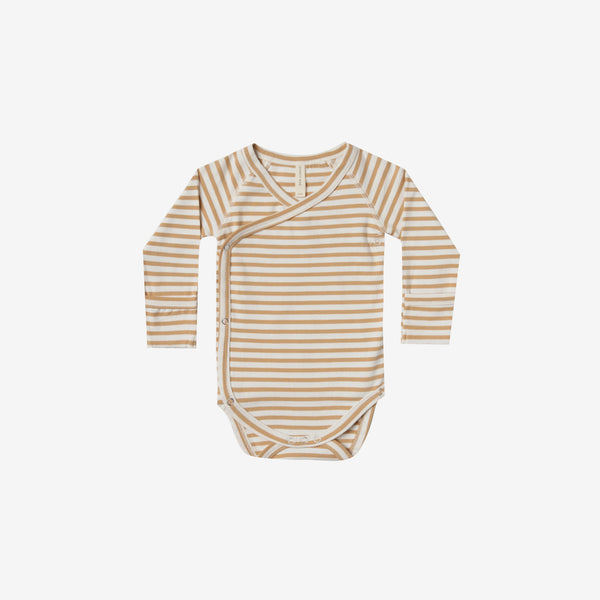 Organic Brushed Jersey Kimono Onesie - Honey Stripe