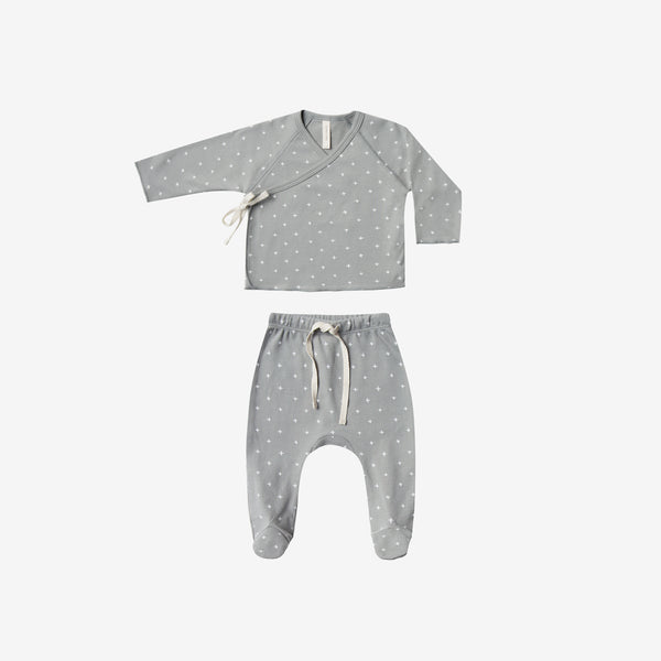 Organic Brushed Jersey Kimono Tee + Footed Pant Set - Dusty Blue Crosses
