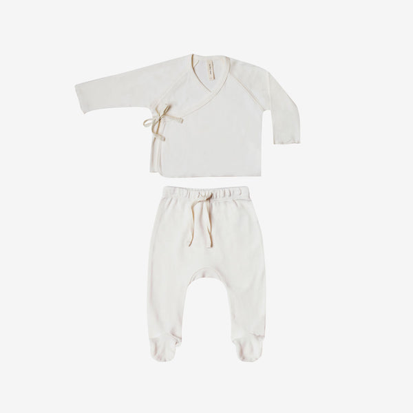 Organic Brushed Jersey Kimono Tee + Footed Pant Set - Ivory