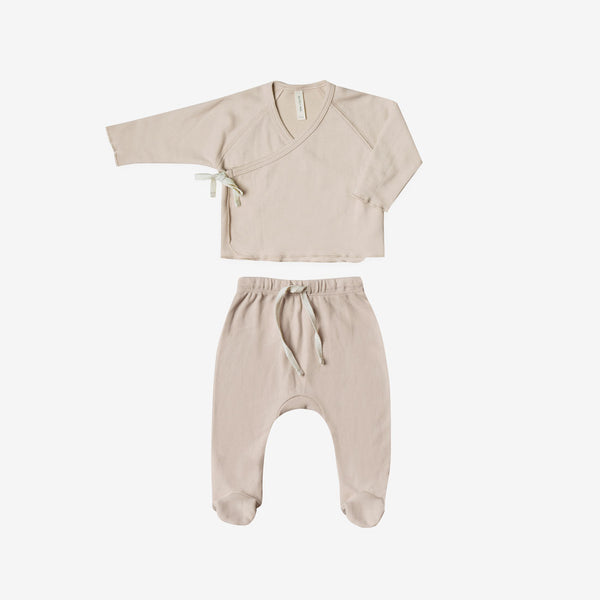 Organic Brushed Jersey Kimono Tee + Footed Pant Set - Rose