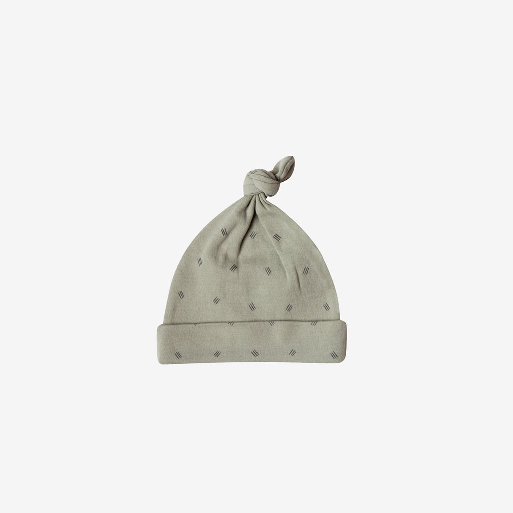 Organic Brushed Jersey Knotted Baby Hat - Sage Dash