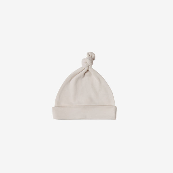 Organic Brushed Jersey Knotted Baby Hat - Bone