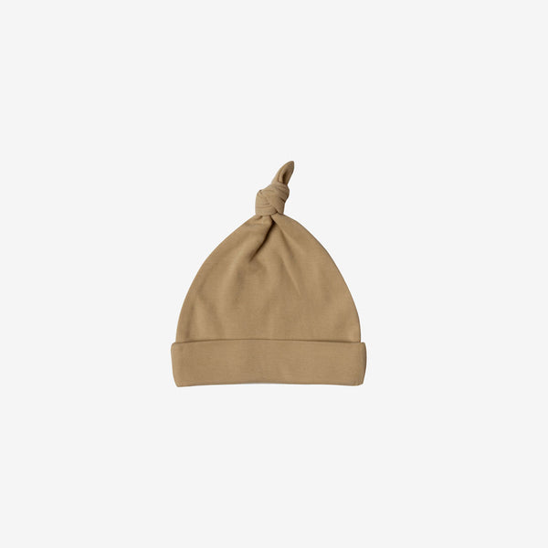 Organic Brushed Jersey Knotted Baby Hat - Honey
