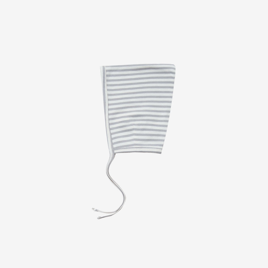 Organic Brushed Jersey Pixie Bonnet - Grey Stripe