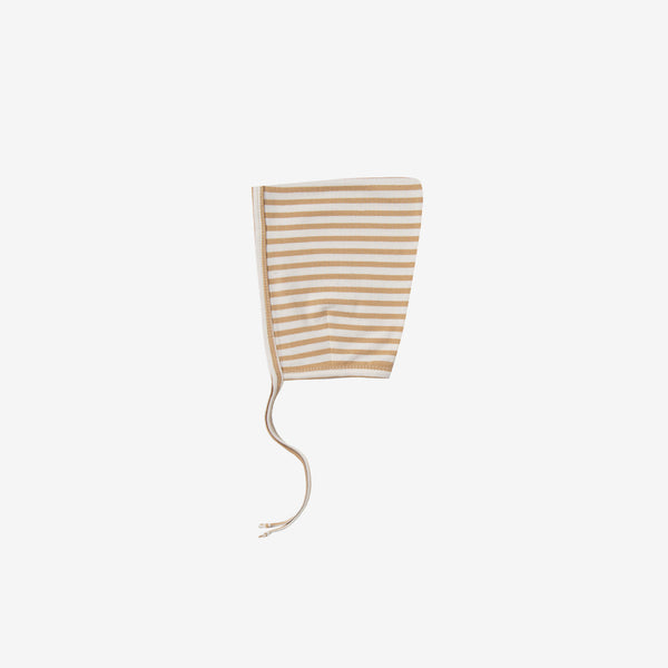 Organic Brushed Jersey Pixie Bonnet - Honey Stripe