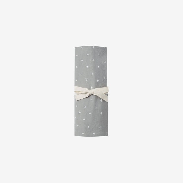 Organic Brushed Jersey Swaddle - Dusty Blue Crosses