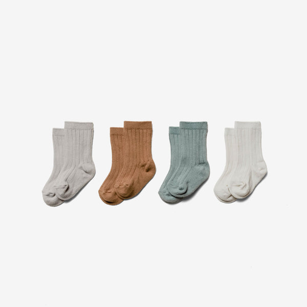 Organic Cotton Baby Socks Set - Ash/Copper/Sea/Pebble