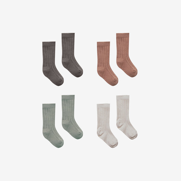 Organic Cotton Baby Socks Set - Coal/Clay/Eucalyptus/Stone