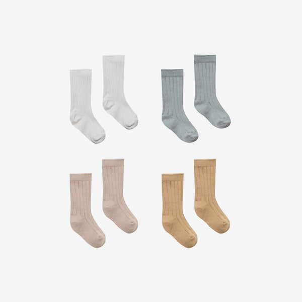 Organic Cotton Baby Socks Set - Ivory/Dusty Blue/Rose/Honey